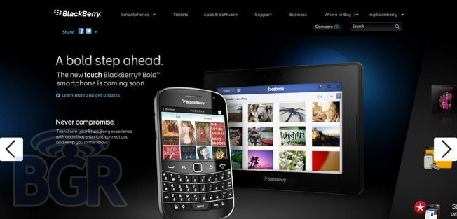 New BlackBerry Bold appears on BlackBerry com, probably the only