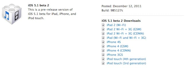Apple iOS 5.1 beta 2