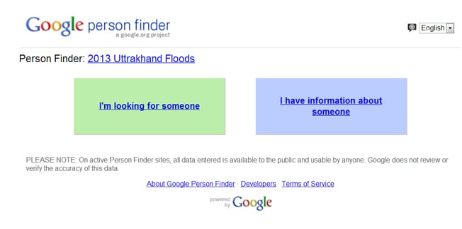 Finder web-app to help find persons missing in the uttarakhand floods