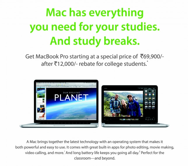 Apple announces Back to College program in India, offers Rs 12,000