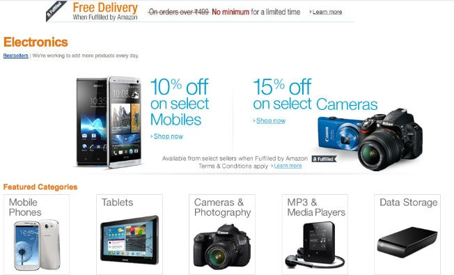 amazon india launches new stores to sell electronic