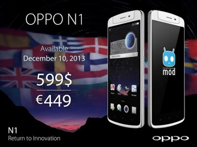Oppo N1 to be launched for $599 on December 10