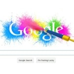 Google doodle with spraygun and colors marks Holi in India