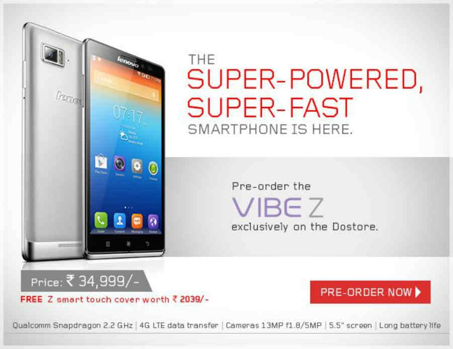 Lenovo Vibe Z up for pre-order for Rs 34,999 on the company's website