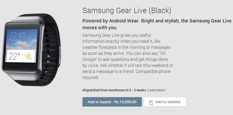 Samsung Gear Live Android Wear smartwatch available on ...