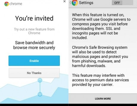 Chrome browser for Android One features data compression and Safe Browsing System