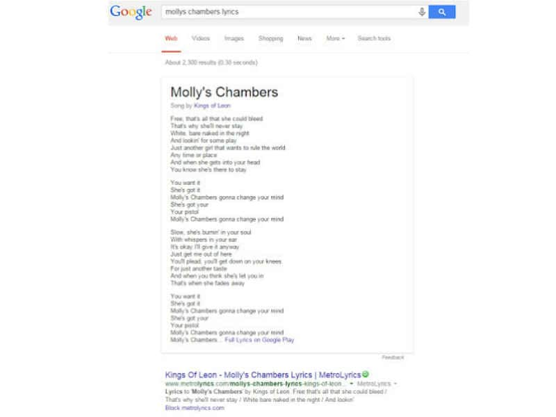 Google Search starts displaying 'song lyrics' right on top of ...