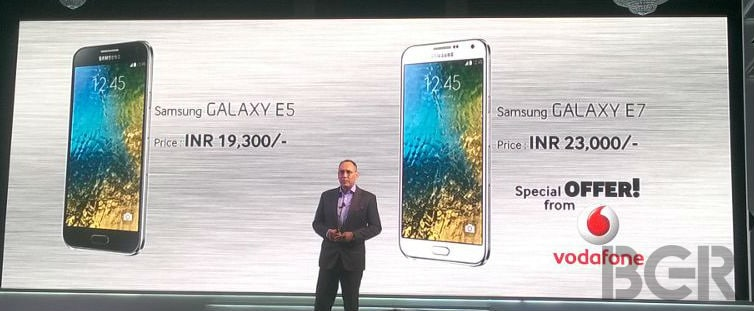 Samsung Galaxy E5 and Galaxy E7 launched in India for Rs 19,300 and Rs 23,000 respectively