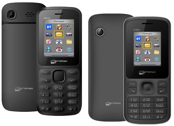 Micromax Joy X1800 and Joy X1850 feature phones packaged in a plastic pouch launched priced at Rs 699 and Rs 749