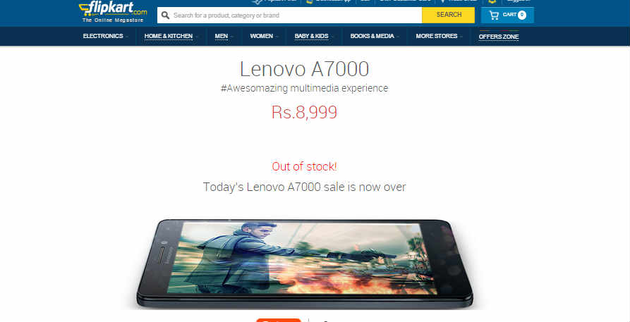 Lenovo A7000 goes out of stock in seconds on Flipkart in today's flash sale