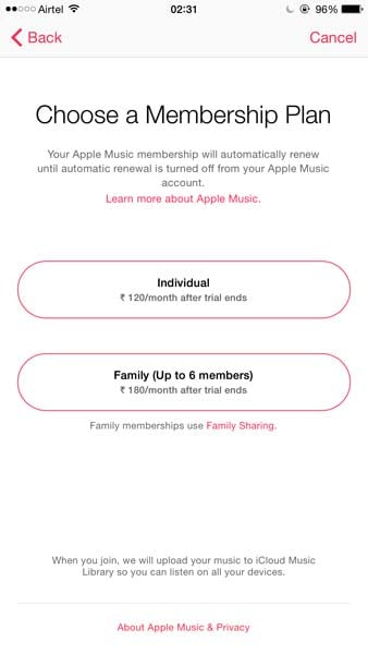 Apple Music India prices revealed on iOS 9 beta, start at Rs