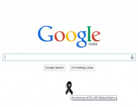 In memory of Dr. APJ Abdul Kalam Google puts a black ribbon on its homepage