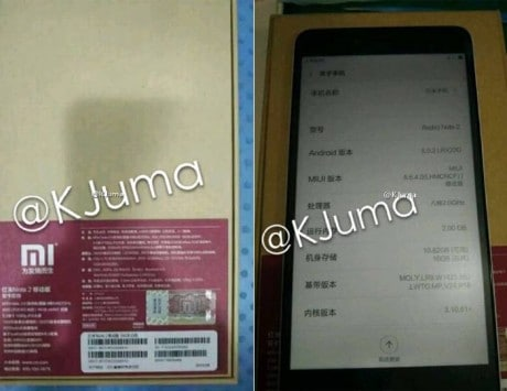 Xiaomi Redmi Note 2 price, specifications and photo leaked