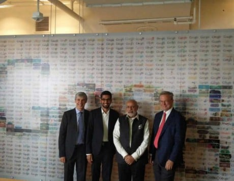 PM Narendra Modi visits Google headquaters for an interaction with Sundar Pichai, Larry Page and Eric Schmidt
