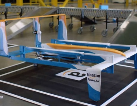 Amazon shows off its new prototype Prime Air drone in a video featuring Jeremy Clarkson