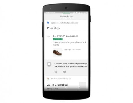 Google Now can notify you about 'price drops' for products you have been looking for