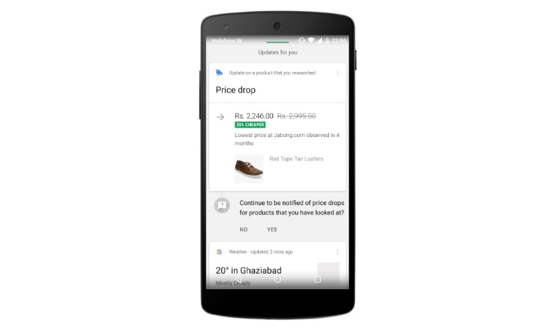 Google Now can notify you about 'price drops' for products