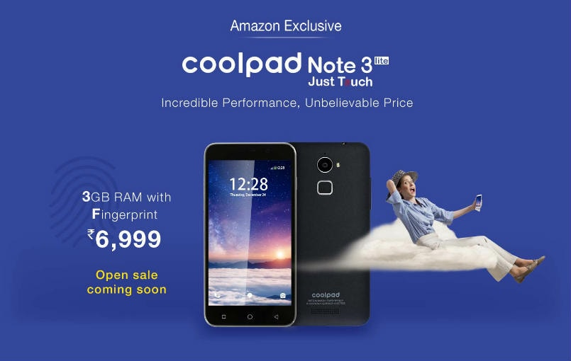 Coolpad Note 3 Lite with 3GB RAM, fingerprint scanner now available via open sale on Amazon India