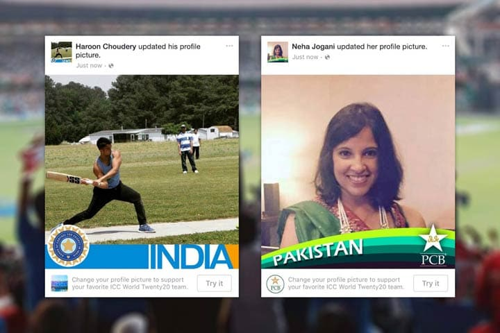 Indian and Pakistani fans swap Facebook profile flags ahead