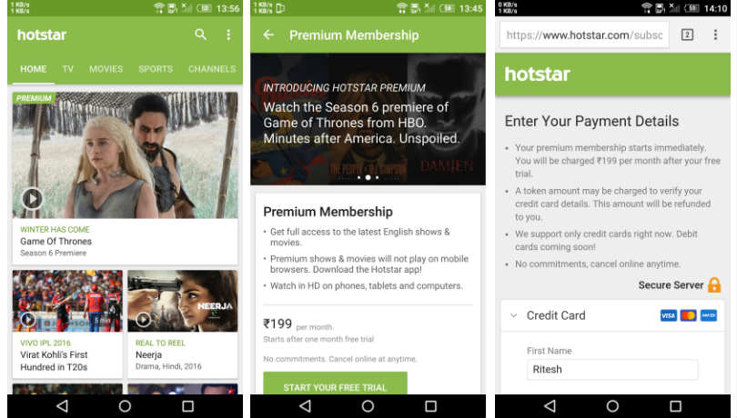 Hotstar Has Launched A Premium Monthly Subscription Service For Rs 199 With An Access To Uncensored Us Tv Shows Including Game Of Thrones Season 6 On The