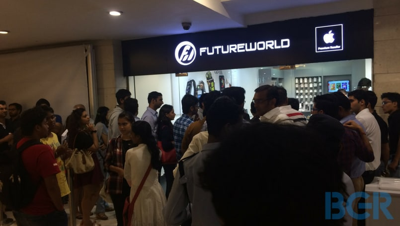 Outside Future World - a premium Apple reseller - at DLF Select CityWalk mall in Saket, Delhi.