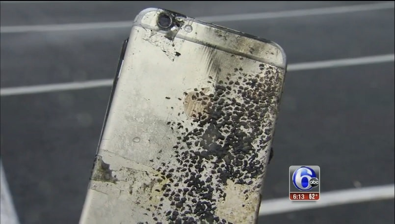 another apple iphone exploded  literally burning a hole in