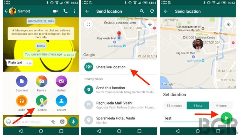 send live location on whatsapp