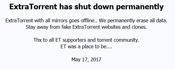 Another BitTorrent player bites the dust, Extratorrent permanently