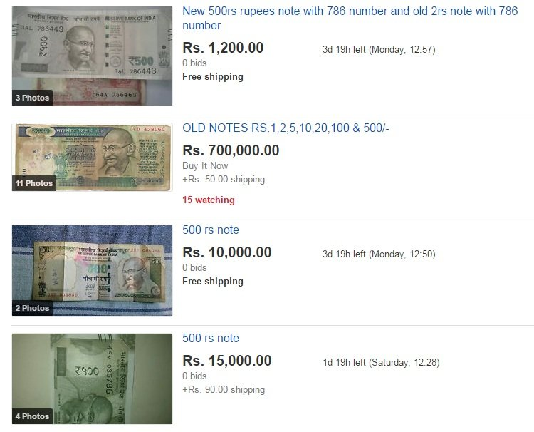 Old and new Rs 500 notes being sold on ebay for up to Rs 7