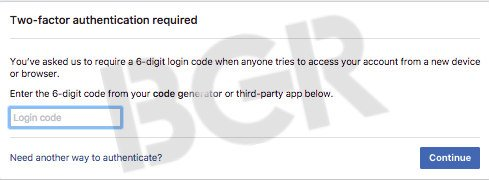 facebook two factor authentication two