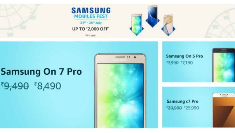 Samsung Mobile Fest on Amazon India: Top deals on Galaxy On7 Pro, Galaxy J5 and more