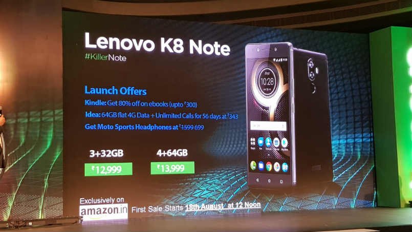 lenovo k8 note to go on sale via amazon india on august 18