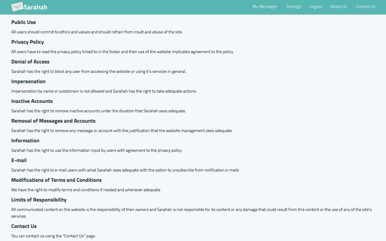Sarahah terms and conditions