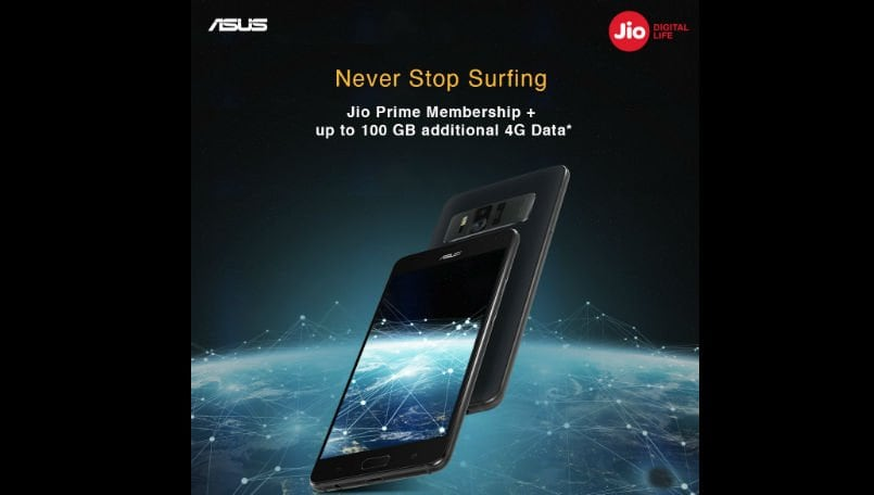 Reliance Jio Prime: Get 100 GB free Jio Prime 4G data with ASUS Zenfone AR