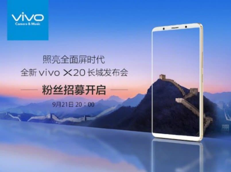 Vivo X20 with 24-megapixel dual cameras to launch on September 21