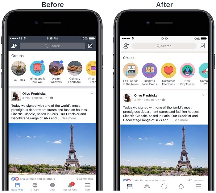 Mobile App Home Screen Redesign: Facebook Officially Launches A Redesigned Workplace App