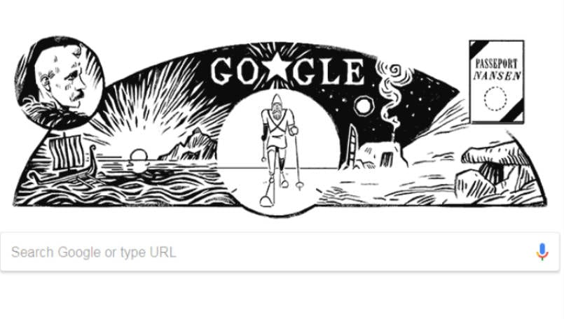 Google doodle honors Norwegian explorer and champion skier Fridtjof Nansen