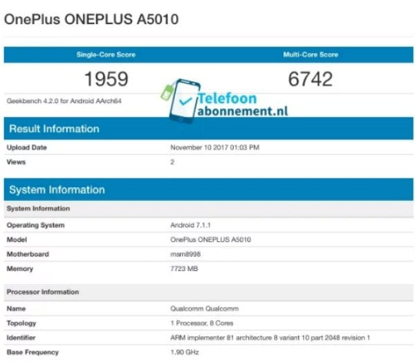 oneplus-5t-geekbench-leaked