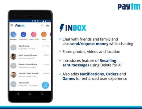 Paytm rolls out in-app messaging feature 'Inbox' to take on WhatsApp