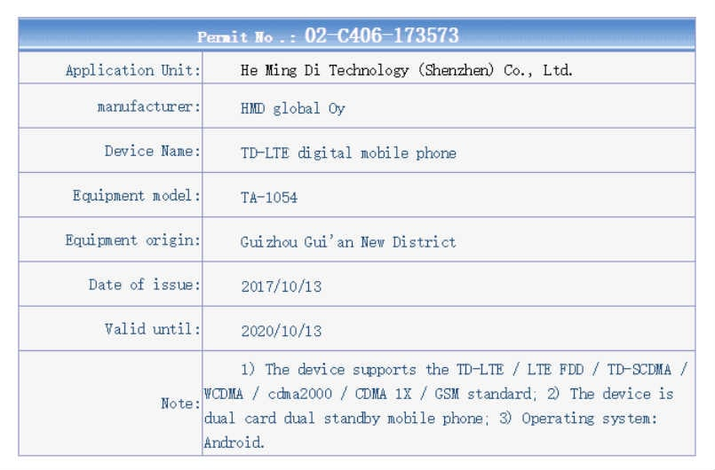 Alleged 2018 Nokia 6 leaked in TENAA certification