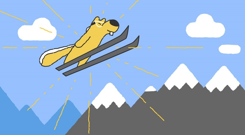 Google Doodle illustrates a ski-jumping squirrel on Day 12 of PyeongChang Winter Olympics 2018