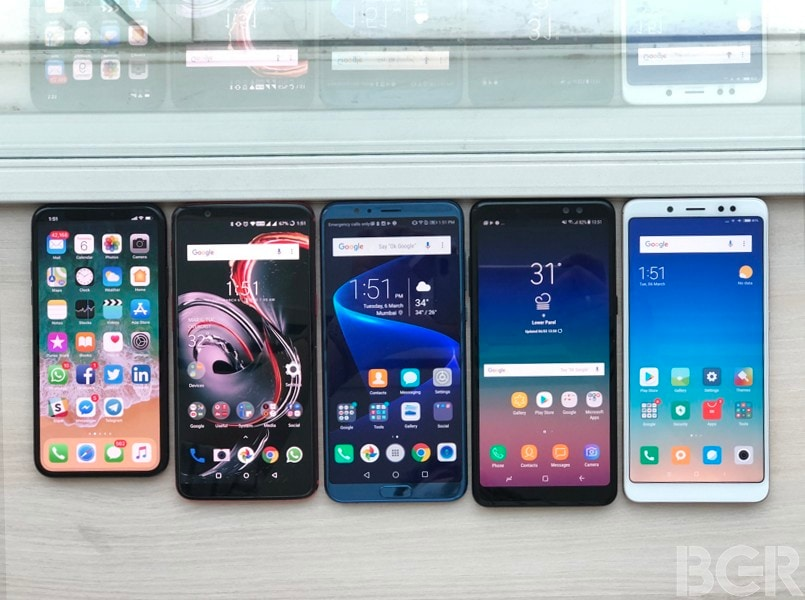 Apple iPhone X vs OnePlus 5T vs Honor View10 vs Samsung Galaxy A8+ (2018) vs Xiaomi Redmi Note 5 Pro: The battle of face unlock