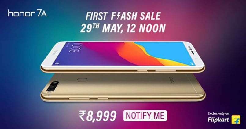 Honor 7A set to go on sale today at 12PM on Flipkart