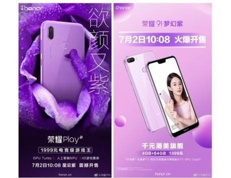 Honor Play and Honor 9i (2018) to get purple variants on July 2