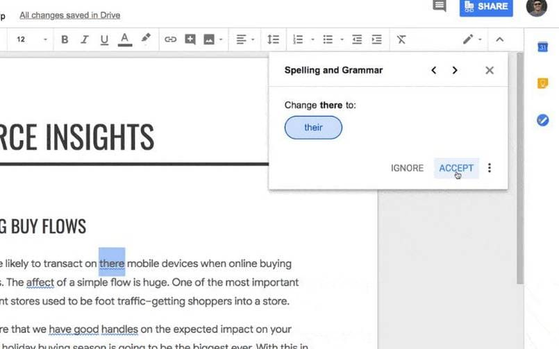 Google Docs Grammar and Spell Check 805px