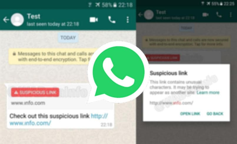 WhatsApp suspicious link detection WABetaInfo 805px