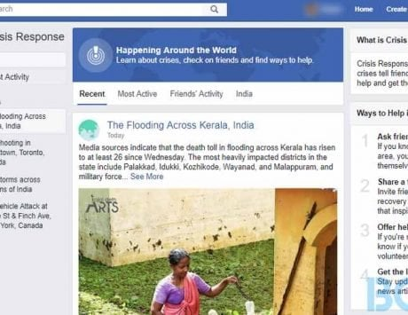 Facebook activates Safety Check for people affected by Kerala flash floods