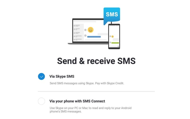Skype Preview for Android brings SMS Connect