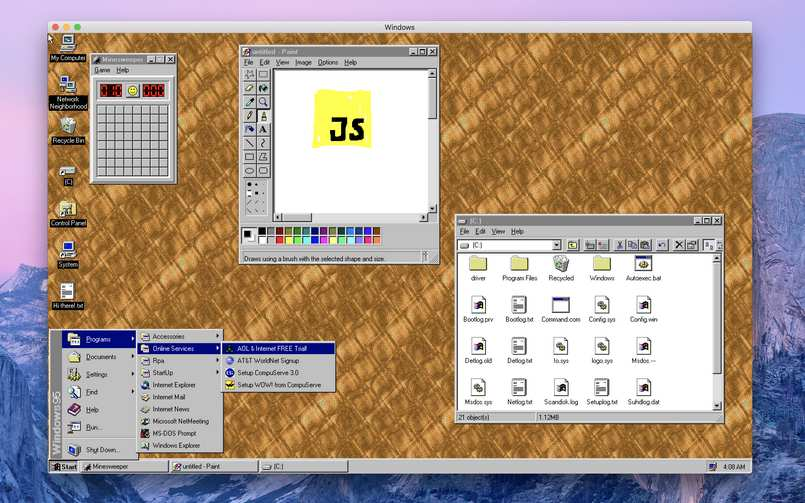 A developer turns Windows 95 into an app that can be installed on macOS, Linux, and Windows