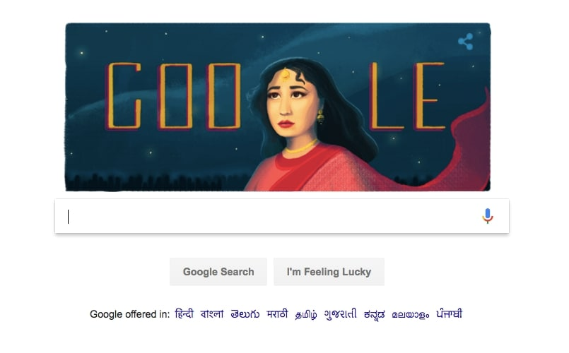 Meena Kumari dedicated a Google doodle on her 85th birth anniversary